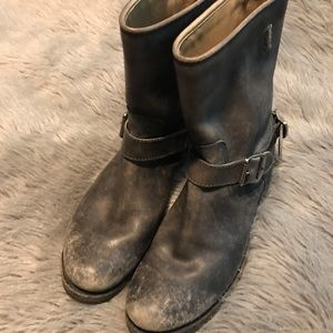 Distressed Frye Moto Boots